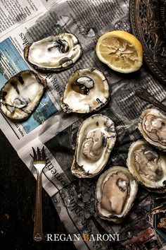 Oysters on a Newspaper, Food Photography, Kitchen Decor, Restaurant Decor, Wall Art, Home Decor, Seafood