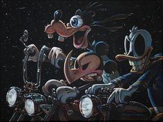 The 3 Amigos Ride Again by Damian Fulton Mickey Mouse Canvas Art Print – moodswingsonthenet
