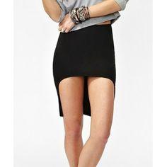 Slimming Irregular Hem Elastic Waist Packet Buttock Knitted Skirt, BLACK