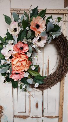 Front door Wreath READY TO SHIP Only 1 available Peony
