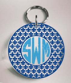 Personalized Acrylic Round Keychain with Fleur de Lis Circle Monogram Outline by PiperGraceGifts on Etsy