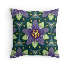 Passionflower #retro #vintage #homedecor #purple #mint #lilac #teal #aqua #green #passionfruit #summer #tropical