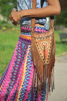 Tribal inspired fringed leather cross body by Foley & Corinna Vintage