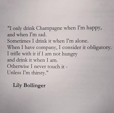 via | chanel bags and cigarette drags | #lillybollinger #quote #champagne