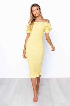 Edmiston Dress - Yellow Yellow Dress, White Dress, Lace Dress, Strapless Dress, Semi Formal Dresses, Womens Fashion Stores, Online Fashion Boutique, Date Outfits, Playsuits