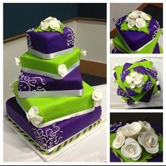 I finally got married and this was my cake!! Lime green and purple wedding cake with party rainbow chip cake mix. Yes!!