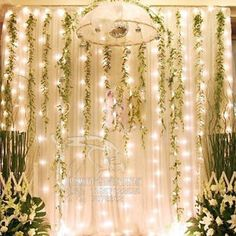 BEST RECEPTION DECOR. LED lights with vines backdrop. Perhaps behind the bride and groom's table?