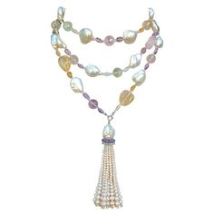 Marina J. Baroque Pearl Sautoir with Multicolored Stones | From a unique collection of vintage more necklaces at http://www.1stdibs.com/jewelry/necklaces/more-necklaces/