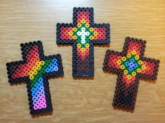 Hama bead crosses for Easter Messy Church design church crosses Perler Bead Designs, Perler Bead Templates, Hama Beads Design, Diy Perler Beads, Perler Bead Art, Pearler Beads, Fuse Beads, Christmas Perler Beads, Melty Bead Patterns