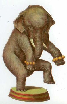 C1890s Die Cut Circus Elephant