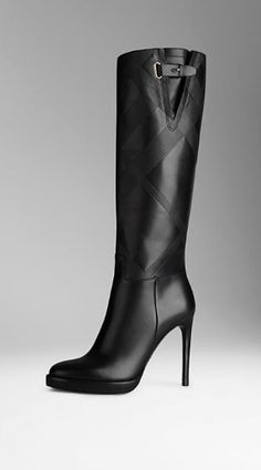 """""""Burberry"""" Embossed Check Panel Leather Boots worn by Olivia Pope (Kerry Washington) in Scandal Season 4."""