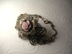 Vintage Style Antique Brass Layered Ornate Rose Bracelet by TwinFlameDesigns, $14.74