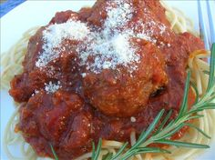 "Authentic Italian Meatballs // there. Pinned so I can find it again. Love this recipe!  Alternative to cooking in sauce for 3 hours-- preheat oven to 375, grease pan (I used canola spray), cook for 22-25 minutes. The size was a mix of large marble size for my toddler, and ""typical"" meatball size for me and hubby. (10 small, 15ish big)"