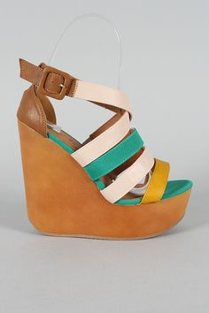 Qupid Cafe-08 Strappy Open Toe Platform Wedge $29.90
