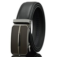 Black Leather Mens Belts Stylish Automatic Buckles Ratchet Dress Pants Belt Gift