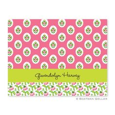 Boatman Geller Block Provincial Pink Foldover Note Card ($62 for 25)