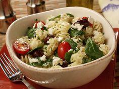 Greek Pasta Salad////////// Good, I added red bell pepper & pepperoni ~KP 12/18/15