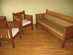 Arts & Crafts Mission Oak Settle 2 Chairs Sofa Couch Original Set #MissionArtsCrafts
