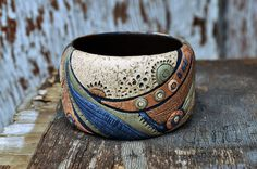 ethno autumn bangle   gnomulkin79, polymer clay.