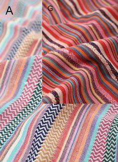 Stripy Cotton Fabric BOHO Bohemian fabric Upholstery by zoooop