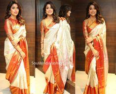 Shriya Saran in a Kanjeevaram saree at VRK Silks Launch Blouse Designs Silk, Designer Blouse Patterns, Indian Designer Outfits, Indian Outfits, Party Wear Indian Dresses, Sari Design, Saree Poses, Prom Dresses Long With Sleeves, Silk Sarees