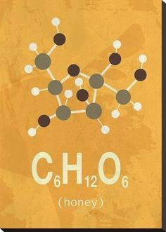 size: Stretched Canvas Print: Molecule Honey by TypeLike : Artists Using advanced technology, we print the image directly onto canvas, stretch it onto support bars, and finish it with hand-painted edges and a protective coating. Chemistry Art, Chemistry Classroom, Organic Chemistry, Chemistry Posters, Chemistry Projects, Chemistry Lessons, Teaching Chemistry, Science Biology, Chemical Formula