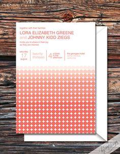 Printable/DIY - Ombre Dot (Coral/Helvetica) Wedding Invitation & RSVP Set