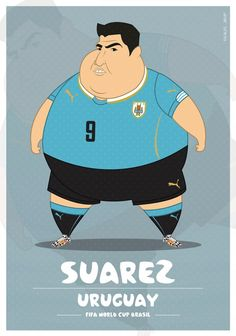 Colombia-based illustrator Fulvio Obregon has created a series of illustrations, in which he imagined World Cup soccer players as. Fat Football Player, Best Football Players, Football Art, Soccer Players, Cristiano Ronaldo, Messi Vs Ronaldo, World Cup 2014, Fifa World Cup, Neymar