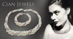 Look gorgeous & glamorous with a deluxe freshwater pearl jewellery set. Adorn yourself with an elegant necklace & bracelet made from twisted ropes of pearls