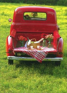 If you live where it's warm, take your girl/guy to the country for a tailgate picnic in your classic old pickup truck. Volkswagen Bus, Auto Retro, Old Pickup Trucks, Chevy Trucks, Red Cottage, Farm Cottage, Picnic Time, Summer Picnic, Down On The Farm