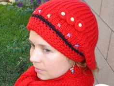 Double Knit Red Hat and Scarf Set with Crocheted by Nikifashion,
