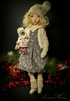 Handmade polymer clay BJD doll by Romantic Wonders Wool Fabric, Knitted Fabric, Cotton Fabric, Polymer Clay Dolls, Handmade Polymer Clay, Handmade Dolls, Custom Dolls, Ooak Dolls, Miniature Dolls