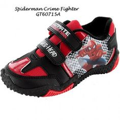 Excellent Spiderman Trainers with hard grip non slip rubber soles and double velcro fastenings. Amazing crime fighting Spiderman Trainers in red and black with picture to the side and traditional Spiderman logo on the front. Available in sizes  7, 8, 9, 10, 11, 12, 13 and 1.