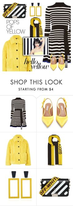 """""""Get Happy: Pops of Yellow"""" by shoaleh-nia ❤ liked on Polyvore featuring Karen Millen, Tabitha Simmons, Topshop, Gucci, Susana Monaco and Off-White"""