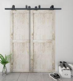 DIYHD dérivation coulissante grange quincaillerie de porte en bois top mount rustique noir coulissant kit de porte de grange