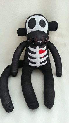 Skeleton Sock Monkey with Heart
