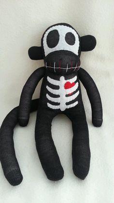 Skeleton Sock Monkey with Heart on Etsy, $36.10