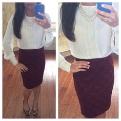 Burgundy lace and white blouse with leopard pumps - work outfit - fall outfit // StylishPetite.com