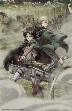 Tags: Scan, Official Art, Shingeki no Kyojin, Levi, Erwin Smith, Wit Studio