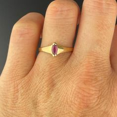 Vintage Gold Ruby Marquise Ring