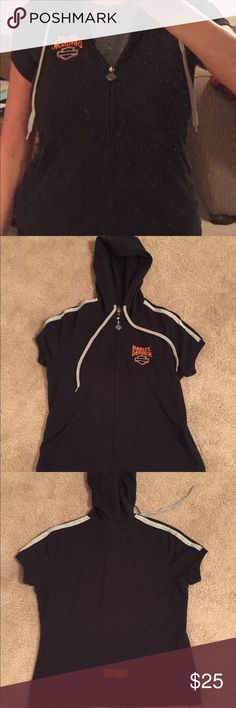 Harley Davidson Sweater Short sleeved, with hood, black sweater. Bought in Corpus Christi only wore one time, in great condition. Harley-Davidson Sweaters