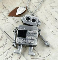 Robot Necklace. $24.00, via Etsy.