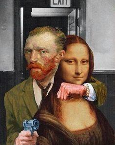 Mona Lisa is kidnapped by Vincent van Gogh Vincent Van Gogh, Arte Pop, Photomontage, Illustration Photo, Mona Lisa Parody, Funny Art, Oeuvre D'art, Collage Art, Collages