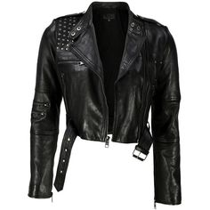 VIPARO Black Nz Studded Lambskin Leather Biker Studded Cropped Jacket... ($405) via Polyvore