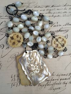 NOTEWORTHY - Beautiful Mother of Pearl and Bone Necklace with Antique French Aide de Memoire