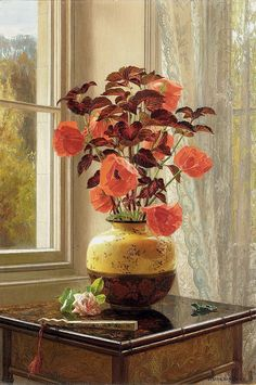 Jessica Hayllar - Oriental Poppy and Coleus in a Cloisonné vase, with a fan on a faux bamboo table