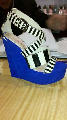 Sneak Peek from CeCe Lamour - Striped Sandals with Blue Suede Wedge Platform