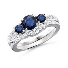 Round-Sapphire-and-Diamond-Three-Stone-Wedding-Ring-Set
