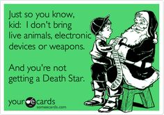 Funny Christmas Season Ecard: Just so you know, kid: I don't bring live animals, electronic devices or weapons. And you're not getting a Death Star.
