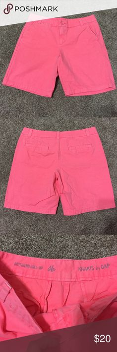 Gap boyfriend roll up shorts Gorgeous color of boyfriend roll up shorts! Gap size 6 petite. They are like a neon coral color. Brand new, never worn. Smoke free home. GAP Shorts